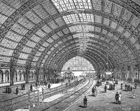Friedrichstrasse railway station, hall construction, Berlin, Germany,1894