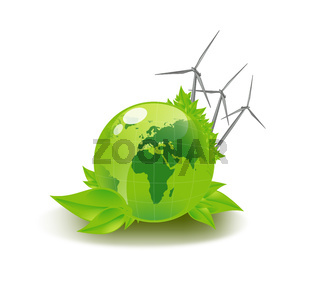picture of green globe and wind turbines