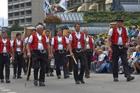 Group of men in traditional Swiss costumes