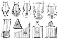 various forms of the lyre, ancient string instruments from ancient Greece, the Roman Empire and Africa