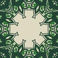 Green stylized ornate frame card in arabic style.