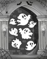 Black and white alcove and ghosts 1 - picture illustration.