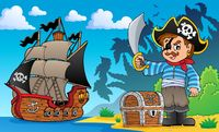 Pirate on coast theme 1 - picture illustration.