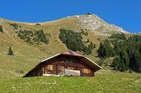 Chalet auf der Alp Oberniesen unterhalb des Niesen Gipfels