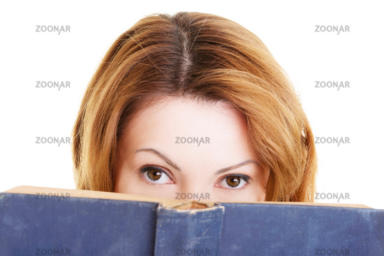 Attractive adult woman with books.