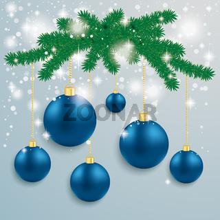 Blue Baubles Snow Lights Red Ribbon Fir Branch