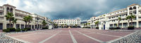 Panoramic view of empty Plaza de Espana square in Nerja. Malaga, Spain