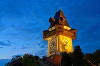 Graz Uhrturm Nacht - Graz clock tower by night 01