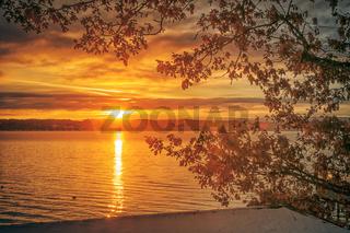 sunrise Starnberg lake