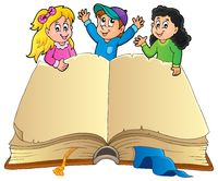Open book with happy kids - picture illustration.