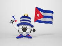 Soccer character fan supporting Cuba