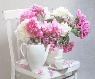 Still-life with tea and peonies