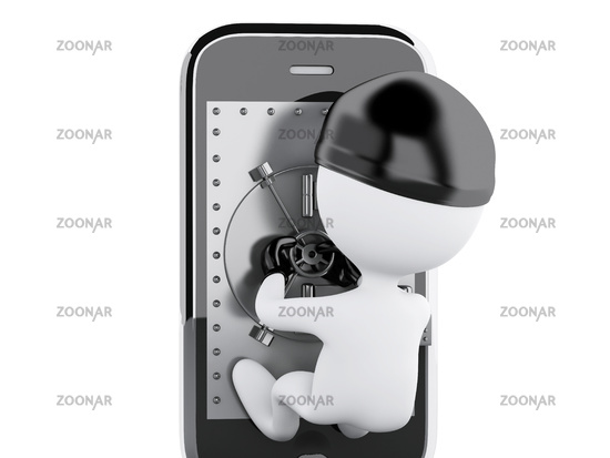 3d Smartphone with safe door. Mobile security