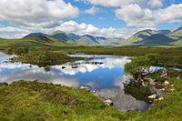 Haufenwolken spiegeln sich in einem See im Schottischen Hochland