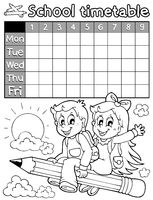 Coloring book school timetable 3 - picture illustration.