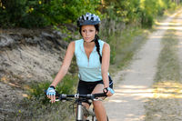 Woman enjoy recreational mountain biking