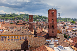 Red roofs and medieval towers of Alba, Italy.