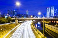 Tel Aviv at Night Traffic on freeway