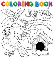 Coloring book winter bird theme 1 - picture illustration.