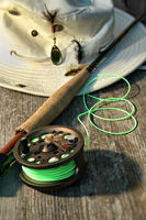 Close-up of fly-fishing reel and rod