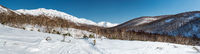 Panoramic view of a mountain pass, route over a ridge. Kamchatka peninsula, Russia