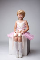 Nice little ballerina posing with pointes