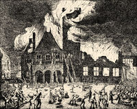 The large fire, Amsterdam town hall, 1652, the Netherlands