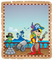 Parchment with pirate ship deck 4 - picture illustration.