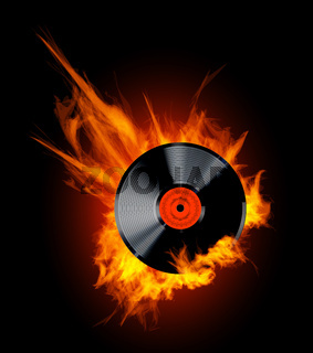 Vinyl Record Disc in Flames