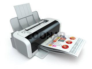 Printer prints business report on white isolated background.