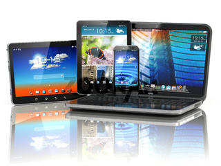 Mobile devices. Laptop, smartphone and tablet pc.