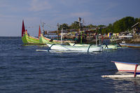 traditionelle Auslegerboote am schwarzen Lavastrand, Lovina Beac