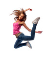 girl in headphones jumps