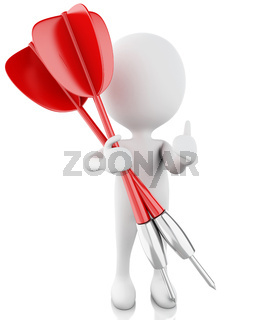 3d white people with darts. Isolated white background