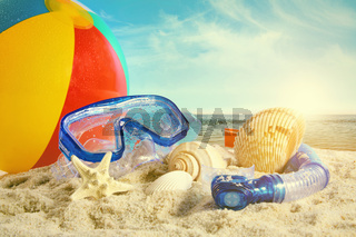 Summer toys at the beach