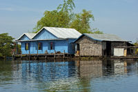 Dwellings of a floating village,Tonle Sap lake