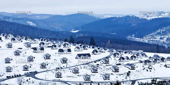 holiday settlement in snow, Winterberg, Germany