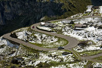 Hairpin bends of a mountain road, Switzerland