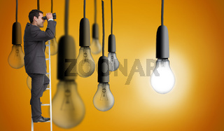 Composite image of businessman standing on ladder