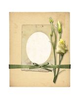 Set of old archival papers and vintage postcard with bouquet of beautiful roses isolated on white background