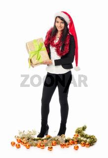 weihnachtsmädchen mit geschenk