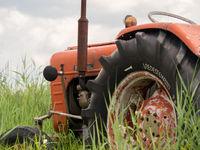 Closeup of old rusty traktor in field