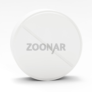 White pill on white background
