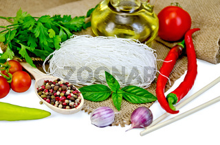 Noodles rice white with spices and vegetables