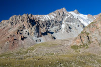 Rocks with sharp edges in Tien Shan mountains