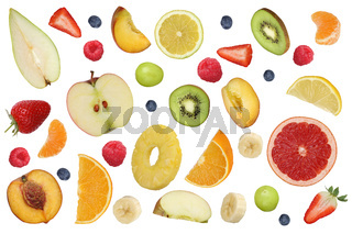 Collage fliegende Früchte wie Orange Frucht, Apfel, Banane und Erdbeere