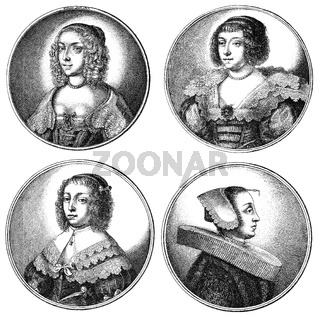Traditional fashion in 17th century, Hairstyles and headwear