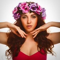model beautiful woman face close-up head beauty, wreath flowers