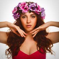 model beautiful woman face close-up head beauty, wreath flowers