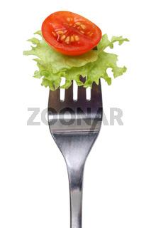 Vegetarisch oder vegan Salat essen mit Gabel freigestellt